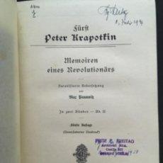 Libros antiguos: MEMOIREN EINES REVOLUTIONÄRS, FÜRST P KRAPOTKIN, 2 BANDEN. Lote 207047433