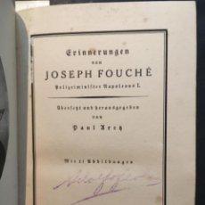 Libros antiguos: ERINNERUNGEN VON JOSEPH FOUCHE, PAUL ARETZ, MIT 21 ABBILDUNGEN, 1925. Lote 207111946