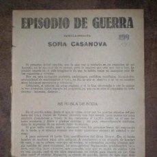 Libros antiguos: CASANOVA, SOFÍA: EPISODIO DE GUERRA. Lote 207218350