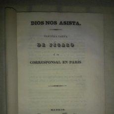 Libros antiguos: DIOS NOS ASISTA.TERCERA CARTA DE FIGARO (SEUDONIMO LARRA) - AÑO 1836 - M.JOSE DE LARRA.. Lote 207800818