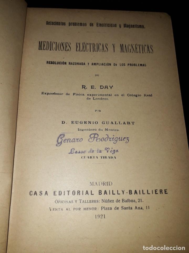 Libros antiguos: LIBRO 2228 PROBLEMAS DE DAY MEDICIONES ELECTRICAS Y MAGNETICAS EUGENIO GULLART 1921 - Foto 2 - 207952708