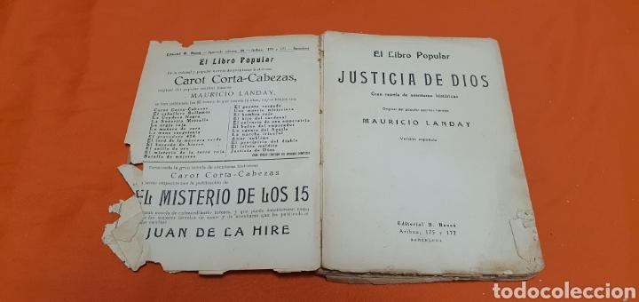 Libros antiguos: Justicia de dios. Mauricio landay, el libro popular. Carot corta-cabezas. Ed. Bauzá - Barcelona 1928 - Foto 3 - 208049462