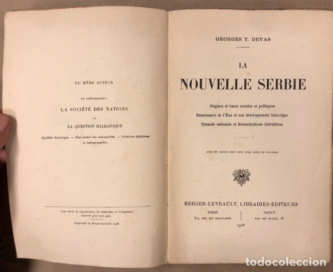 Libros antiguos: LA NOUVELLE SERBIE. GEORGES Y. DEVAS. BERGER-LEVRAULT LIBRAIRES-ÉDITEURS 1918. - Foto 2 - 208177067