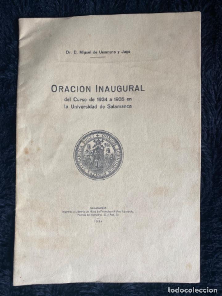 MIGUEL DE UNAMUNO Y JUGO. ORACIÓN INAUGURAL DEL CURSO DE 1934 A 1935 EN LA UNIVERSIDAD DE SALAMANCA (Libros Antiguos, Raros y Curiosos - Ciencias, Manuales y Oficios - Otros)