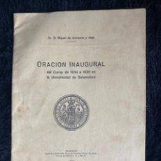 Libros antiguos: MIGUEL DE UNAMUNO Y JUGO. ORACIÓN INAUGURAL DEL CURSO DE 1934 A 1935 EN LA UNIVERSIDAD DE SALAMANCA. Lote 208226803