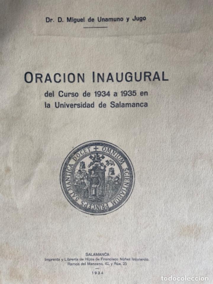 Libros antiguos: Miguel de Unamuno y Jugo. ORACIÓN INAUGURAL del Curso de 1934 a 1935 en la Universidad de Salamanca - Foto 2 - 208226803