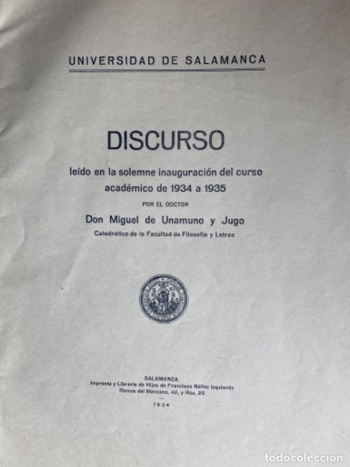 Libros antiguos: Miguel de Unamuno y Jugo. ORACIÓN INAUGURAL del Curso de 1934 a 1935 en la Universidad de Salamanca - Foto 4 - 208226803