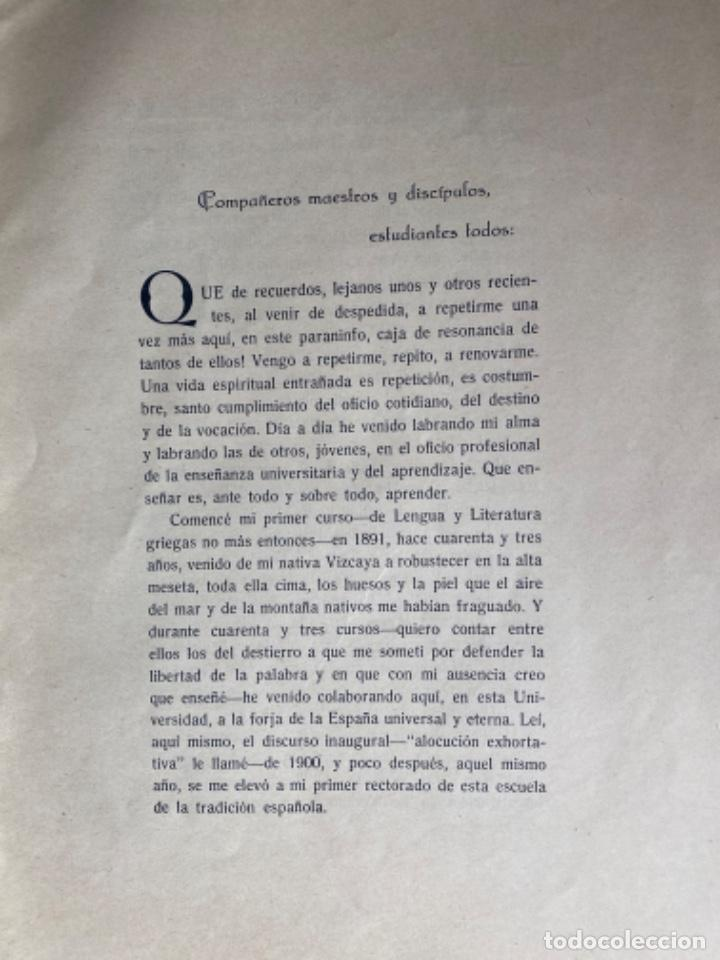 Libros antiguos: Miguel de Unamuno y Jugo. ORACIÓN INAUGURAL del Curso de 1934 a 1935 en la Universidad de Salamanca - Foto 5 - 208226803