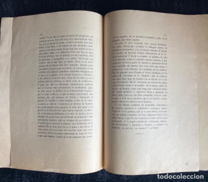 Libros antiguos: Miguel de Unamuno y Jugo. ORACIÓN INAUGURAL del Curso de 1934 a 1935 en la Universidad de Salamanca - Foto 6 - 208226803
