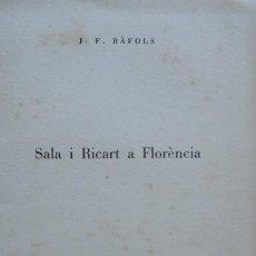Libros antiguos: SALA I RICART A FLORÈNCIA. ENRIC-CRISTÒFOR RICART, GRABADOR. Lote 208394721