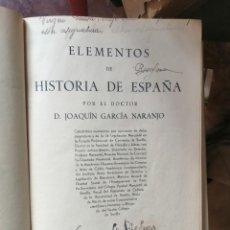 Libros antiguos: ELEMENTOS DE HISTORIA DE ESPAÑA POR RICARDO ESPEJO DE HINOJOSA Y JOAQUIN. Lote 208672208