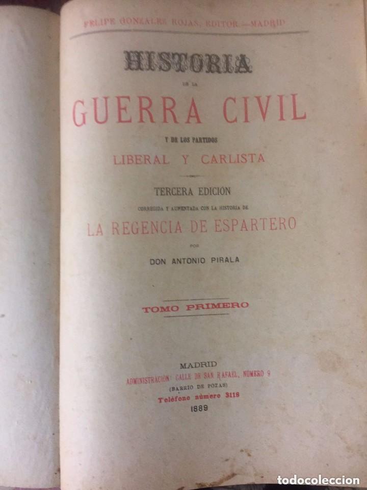 ANTONIO PIRALA. HISTORIA DE LA GUERRA CIVIL Y DE LOS PARTIDOS LIBERAL Y CARLISTA. 3 EDICION. (Libros Antiguos, Raros y Curiosos - Historia - Otros)