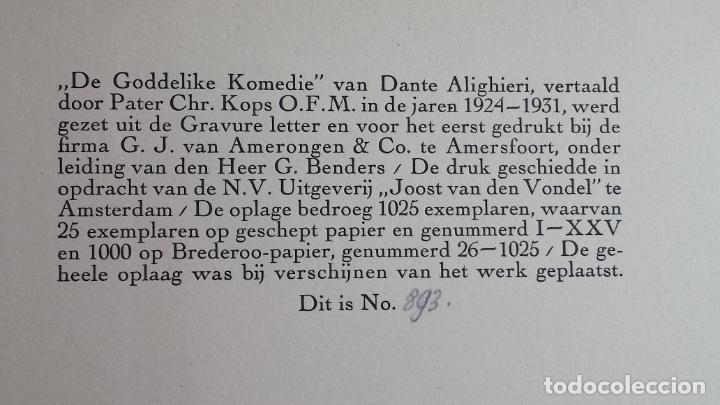 Libros antiguos: Libro holandés, Dantes Goddelijke Komedie, Edición limitada Nº 893/1025 - Foto 2 - 209234038