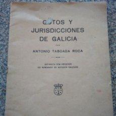 Libros antiguos: COTOS Y JURISDICCIONES DE GALICIA POR ANTONIO TABOADA ROCA -- CORUÑA 1927 -- VILLAR DE FERREIROS. Lote 209367388