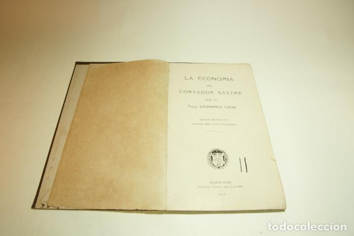 Libros antiguos: La economía del cortador sastre. Prof. Leonardo Cimini. Firmado por el autor. Buenos Aires. 1913. - Foto 2 - 209420057
