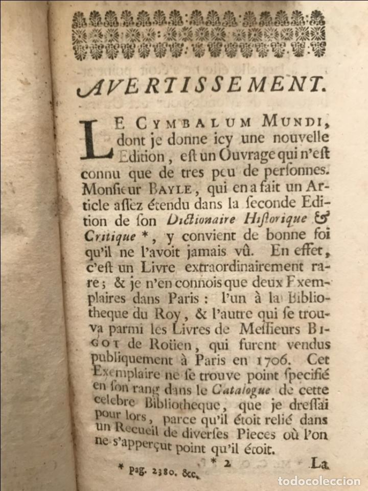 Libros antiguos: Des Périers, Bonaventure, Cymbalum mundi, ou Dialogues satyriques,..1711. Prosper Marchand - Foto 7 - 209718608