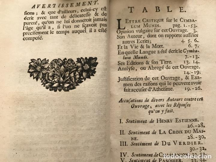 Libros antiguos: Des Périers, Bonaventure, Cymbalum mundi, ou Dialogues satyriques,..1711. Prosper Marchand - Foto 8 - 209718608