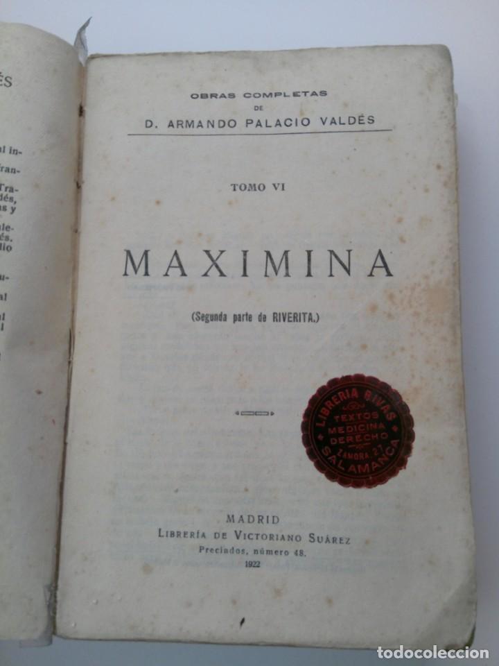 MAXIMINA (SEGUNDA PARTE DE RIVERITA) . ARMANDO PALACIO VALDÉS . 1922 (Libros Antiguos, Raros y Curiosos - Literatura - Otros)