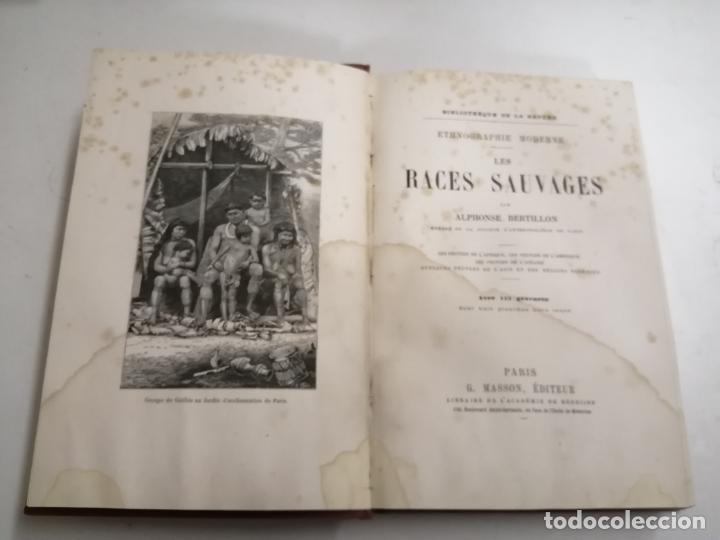 LES RACES SAUVAGES. ALPHONSE BERTILLON. 1882 PARÍS. ED.: G. MASSON. BIBLIOTHÈQUE DELA NATURE. (Libros Antiguos, Raros y Curiosos - Otros Idiomas)