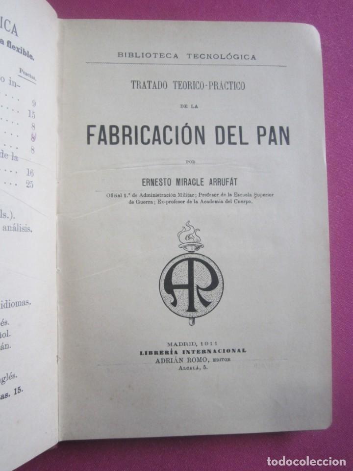 TRATADO DE LA FABRICACION DEL PAN ERNESTO MIRACLE AÑO 1911. (Libros Antiguos, Raros y Curiosos - Cocina y Gastronomía)