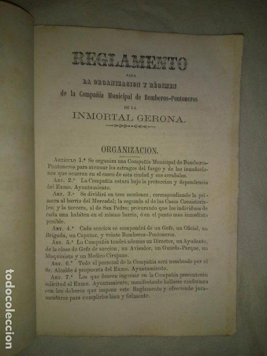 Libros antiguos: REGLAMENTO DE LA COMPAÑIA MUNICIPAL DE BOMBEROS-PONTONEROS DE LA INMORTAL GERONA - AÑO 1868. - Foto 3 - 212009472