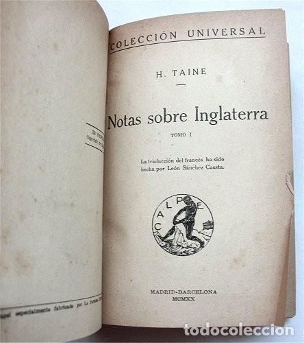 Libros antiguos: Notas sobre Inglaterra. Tomos I y II encuadernados en un volumen. Calpe, 1920 - Foto 3 - 212110986