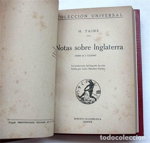 Libros antiguos: Notas sobre Inglaterra. Tomos I y II encuadernados en un volumen. Calpe, 1920 - Foto 4 - 212110986