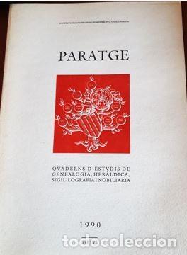REVISTA PARATGE 1990 (EN CATALAN) CUADERNO DE ESTUDIOS DE GENEALOGIA Y HERALDICA (Libros Antiguos, Raros y Curiosos - Ciencias, Manuales y Oficios - Otros)