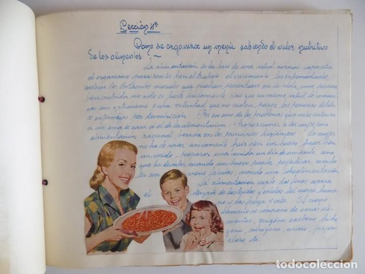 Libros antiguos: LIBRERIA GHOTICA. EXCEPCIONAL MANUSCRITO DE COCINA DE 1940.RECETAS, LECCIONES Y ILUSTRACIONES. ÚNICO - Foto 7 - 212485947