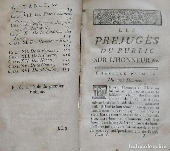 Libros antiguos: Les préjugés du public sur lhonneur. Paris. 1765. Tome Premier. M. Denesle. 400 págs. En francés. - Foto 2 - 212999382