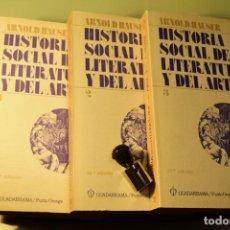 Libros antiguos: HISTORIA SOCIAL DE LA LITERATURA Y DEL ARTE (3 VOLS)- ARNOLD HAUSER- ED- GUADARRAMA. Lote 213055571