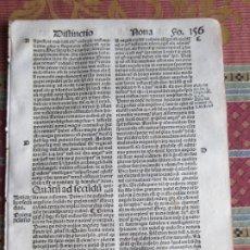 Libri antichi: 1510.-HOJA POST-INCUNABLE. QUATTUOR LIBRORUM SENTENTIARUM COMPENDIUM.GUILLERMI VORILLONIS. ORIGINAL. Lote 213866977