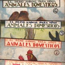 Libros antiguos: EL REINO ANIMAL PARA NIÑOS SOPENA : ANIMALES DOMÉSTICOS - 4 VOLÚMENES. Lote 213903300