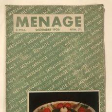 Libros antiguos: MENAGE REVISTA DE COCINA DICIEMBRE 1936. Lote 214026018