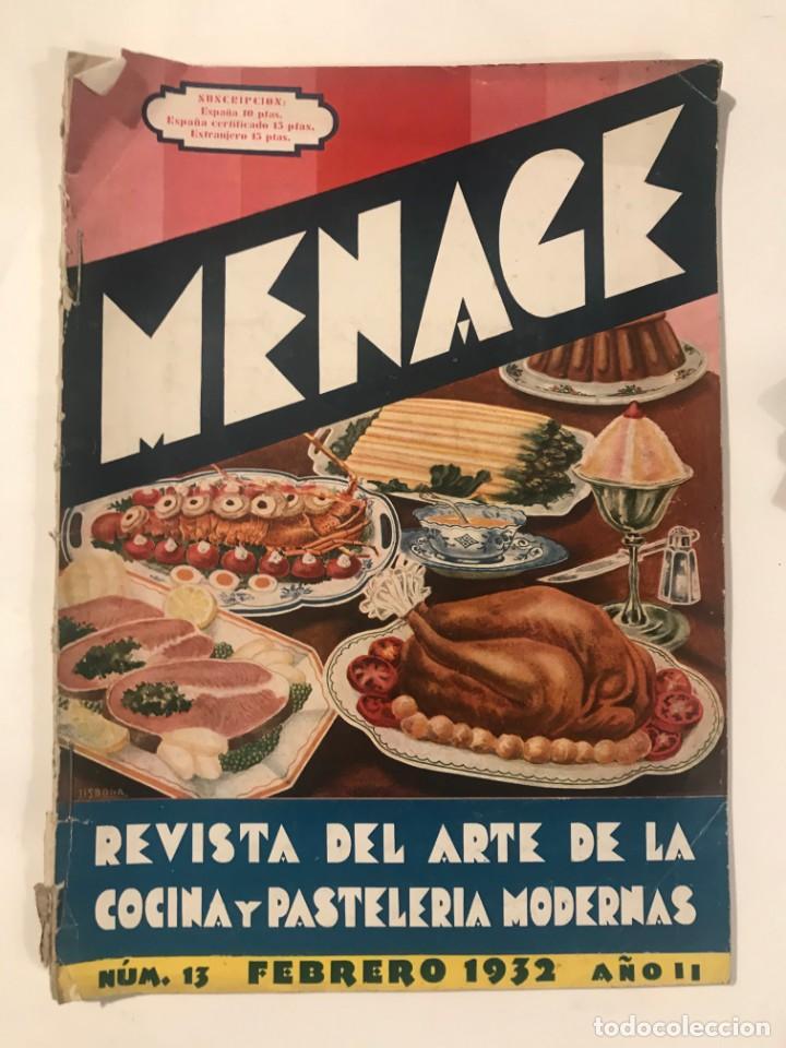 MENAGE REVISTA DE COCINA FEBRERO 1932 AÑO II (Libros Antiguos, Raros y Curiosos - Cocina y Gastronomía)