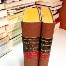 Libros antiguos: MENÉNDEZ PIDAL, RAMÓN. LA LEYENDA DE LOS INFANTES DE LARA - HISTORIA Y EPOPEYA. (VOLUMEN I Y II). Lote 214134015