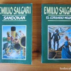 Libros antiguos: PACK EMILIO SALGARI (2 NOELAS) - SANDOKAN Y EL CORSARIO NEGRO. Lote 214143063