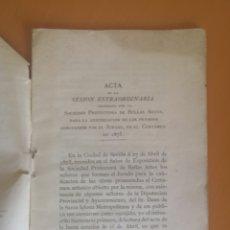 Libros antiguos: ACTA DE LA SESIÓN EXTRAORDINARIA SOCIEDAD BELLAS ARTES CERTAMEN 1873. Lote 214407532