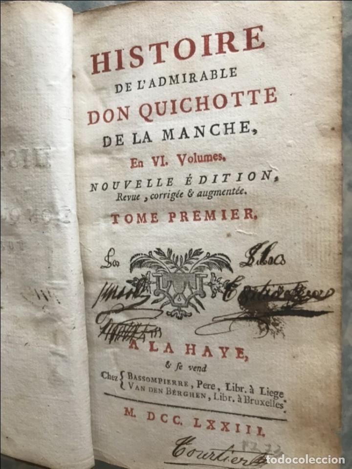 Libros antiguos: Histoire de ladmirable Don Quichote de la Mancha (6 tomos), 1773. M. de Cervantes. Grabados - Foto 6 - 214480975