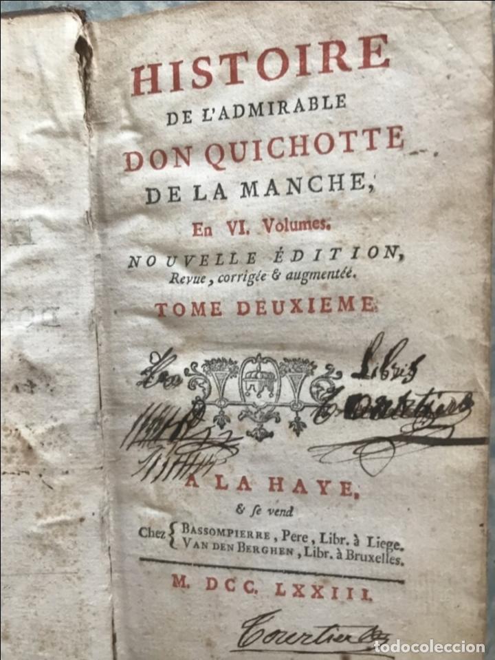Libros antiguos: Histoire de ladmirable Don Quichote de la Mancha (6 tomos), 1773. M. de Cervantes. Grabados - Foto 21 - 214480975