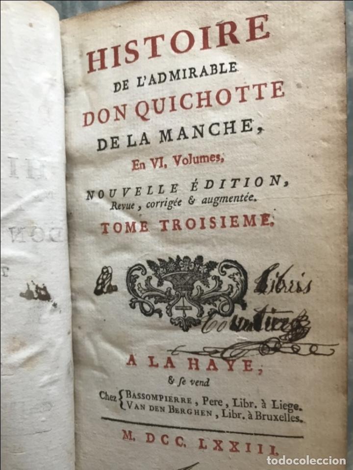 Libros antiguos: Histoire de ladmirable Don Quichote de la Mancha (6 tomos), 1773. M. de Cervantes. Grabados - Foto 30 - 214480975
