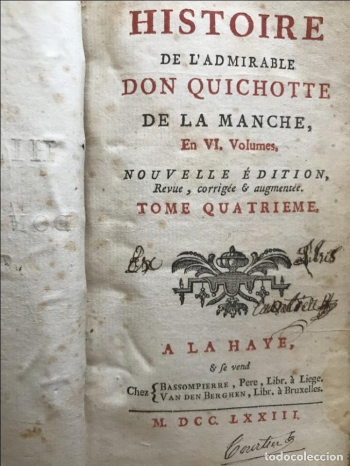 Libros antiguos: Histoire de ladmirable Don Quichote de la Mancha (6 tomos), 1773. M. de Cervantes. Grabados - Foto 50 - 214480975