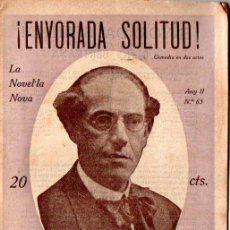 Libros antiguos: PRUDENCI BERTRANA : ¡ENYORADA SOLITUD! (LA NOVEL.LA NOVA, S.F.) CATALÀ. Lote 214493446
