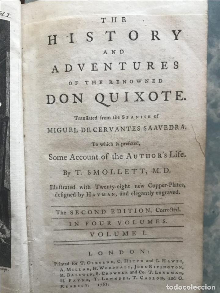 Libros antiguos: The History and Adventures ...Don Quixote, 4 tomos, 1761. Cervantes/Smollett. 28 grabados de Hayman - Foto 14 - 214504323
