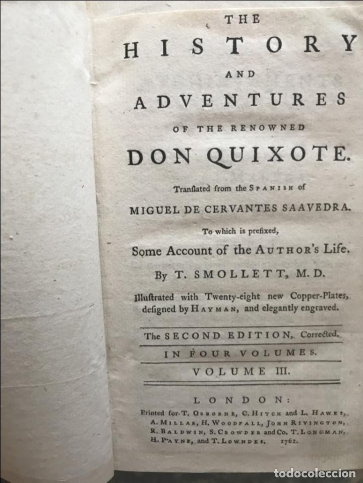 Libros antiguos: The History and Adventures ...Don Quixote, 4 tomos, 1761. Cervantes/Smollett. 28 grabados de Hayman - Foto 60 - 214504323