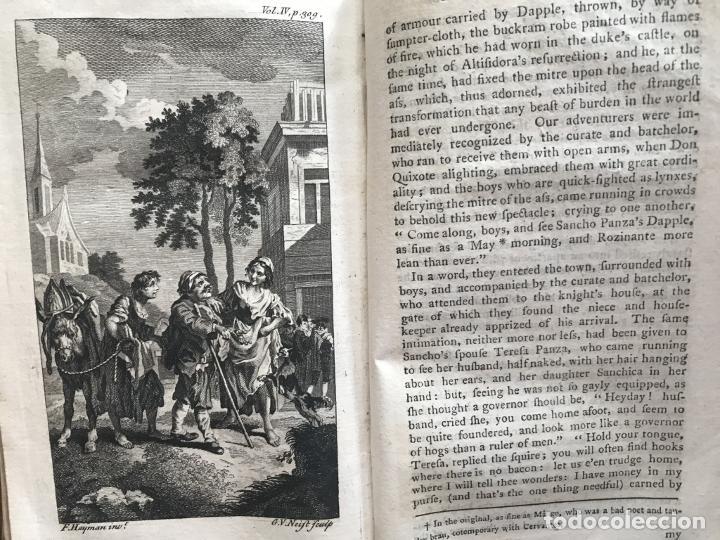 Libros antiguos: The History and Adventures ...Don Quixote, 4 tomos, 1761. Cervantes/Smollett. 28 grabados de Hayman - Foto 95 - 214504323