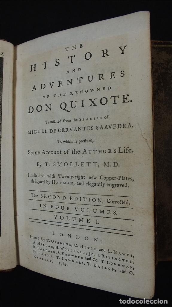 Libros antiguos: The History and Adventures ...Don Quixote, 4 tomos, 1761. Cervantes/Smollett. 28 grabados de Hayman - Foto 101 - 214504323