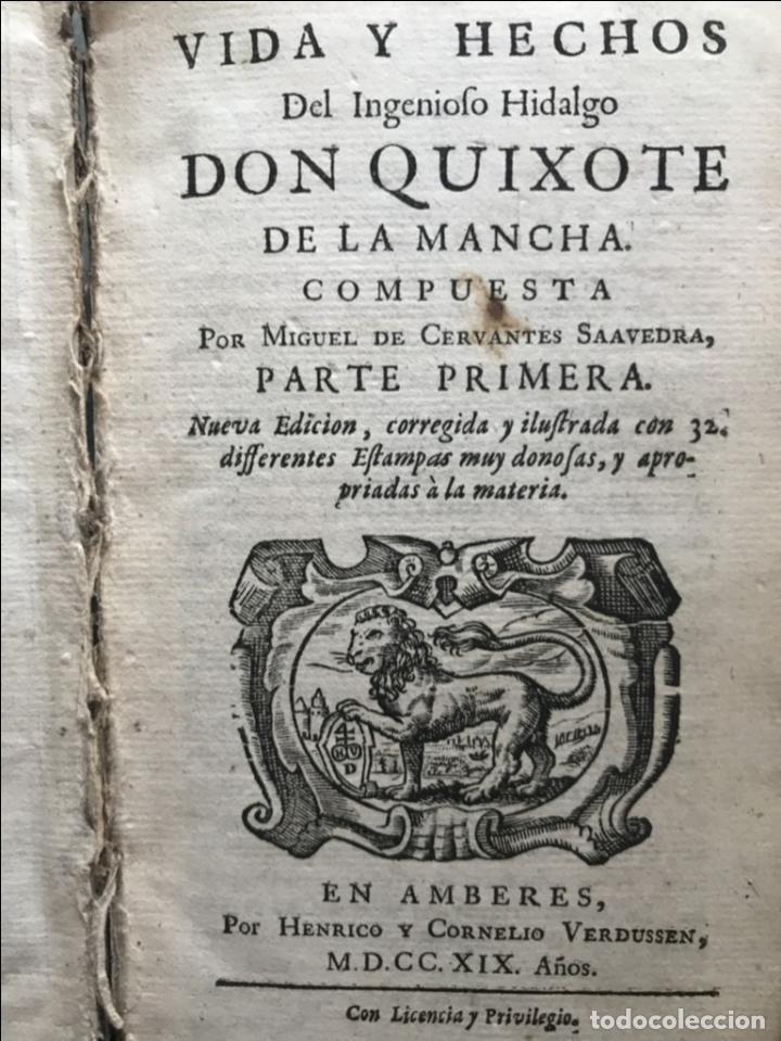 VIDA Y HECHOS...DON QUIJOTE DE LA MANCHA, TOMO I, 1719. CERVANTES/VERDUSSEN/BOULTATS (Libros Antiguos, Raros y Curiosos - Literatura - Otros)