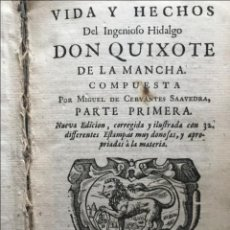 Libros antiguos: VIDA Y HECHOS...DON QUIJOTE DE LA MANCHA, TOMO I, 1719. CERVANTES/VERDUSSEN/BOULTATS. Lote 214545177