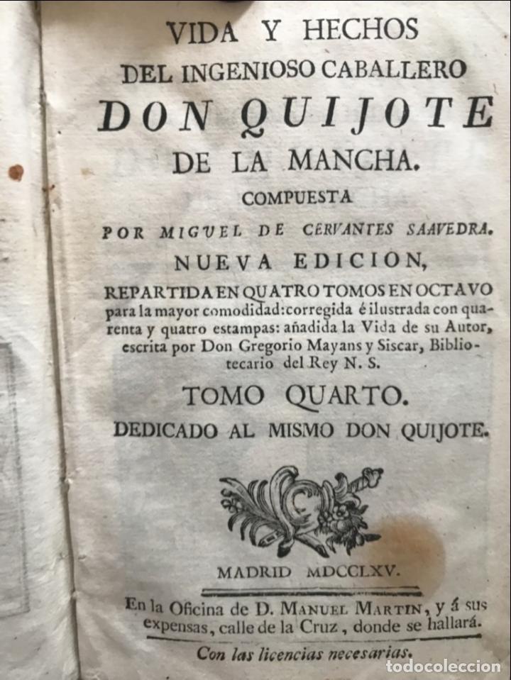 Libros antiguos: Vida y Hechos...don Quijote de la Mancha, tomo 4, 1765. M. de Cervantes/Manuel Martin. Xilografías. - Foto 8 - 214624825